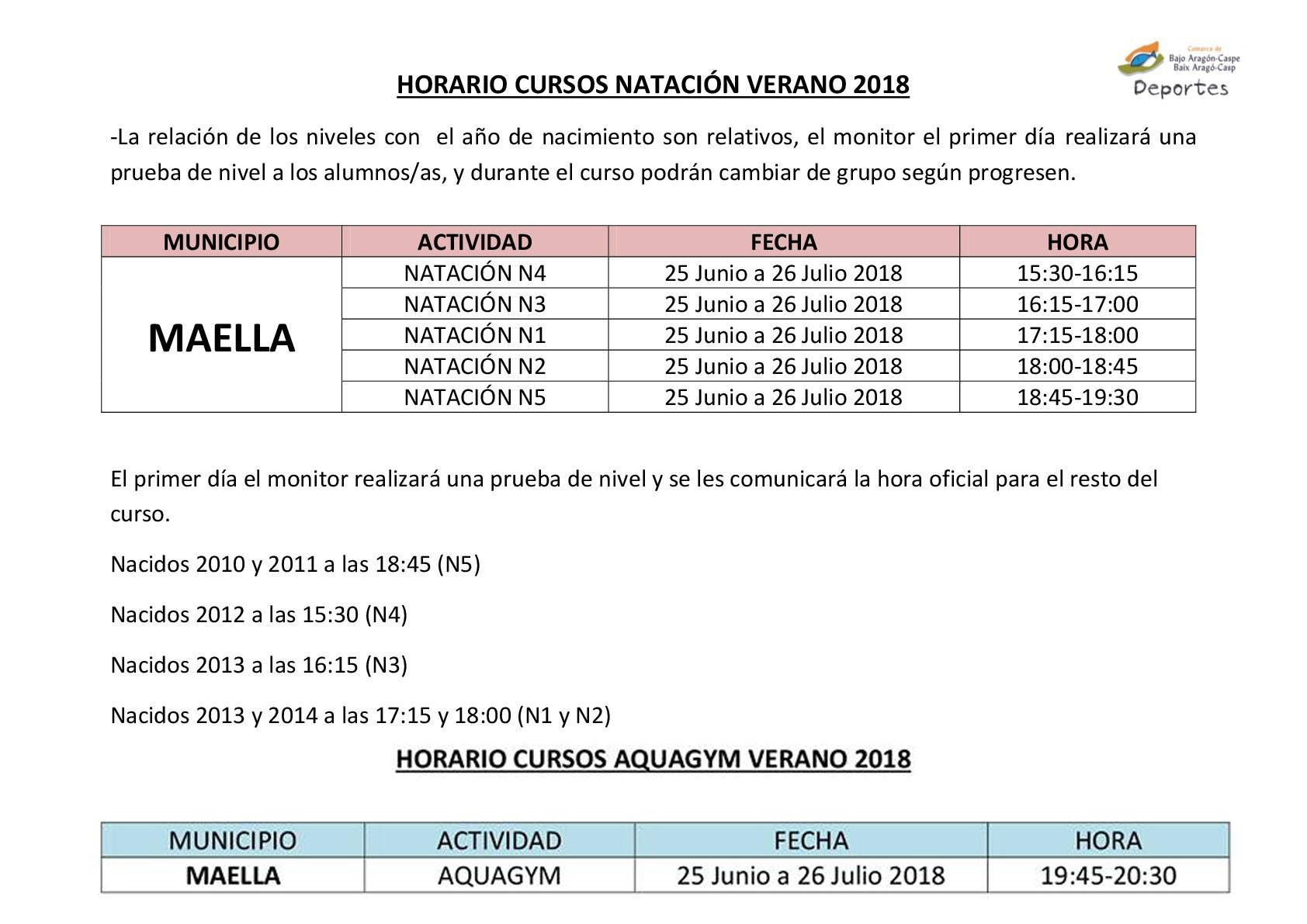 HORARIOS CURSO DE NATACION