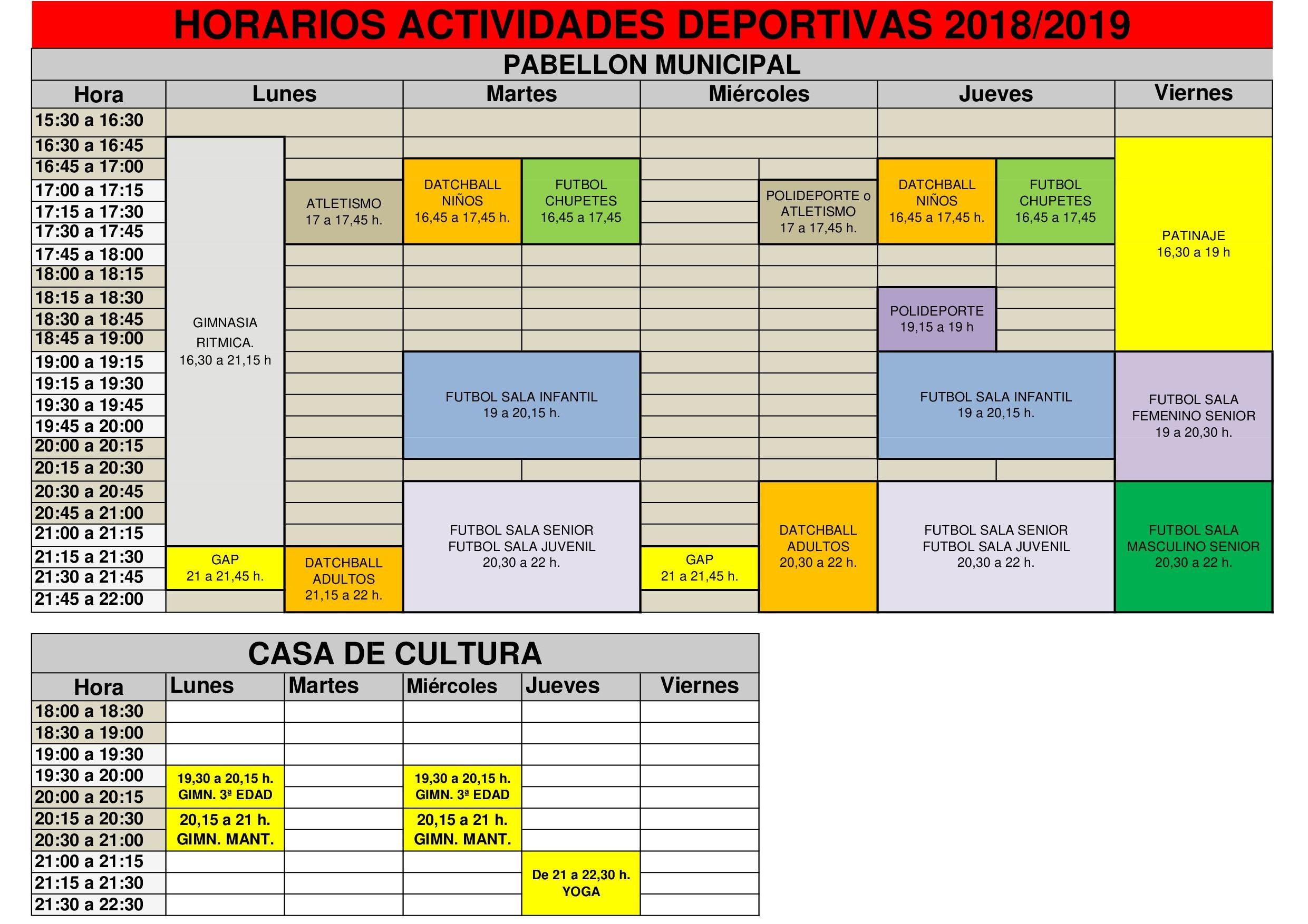 HORARIOS ACTIVIDADES DEPORTIVAS