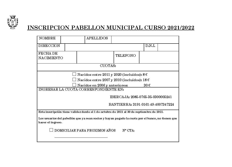CUOTA PABELLÓN MUNICIPAL 2021/2022